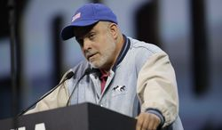 Radio host Mark Levin speaks during the leadership forum at the National Rifle Association's annual convention  in Indianapolis on April 25, 2014. (Associated Press) **FILE**