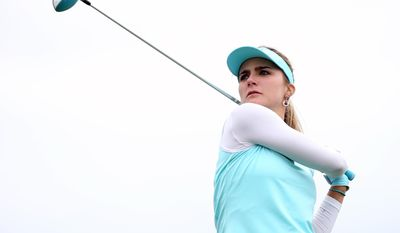 Lexi Thompson tees off from the third hole during a pro-am for the Shoprite Classic golf tournament in Galloway, N.J., , Thursday, May 29, 2013. (AP Photo/The Press of Atlantic City, Michael Ein) MANDATORY CREDIT