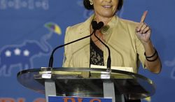 Sarah Palin addresses the Republican Leadership Conference in New Orleans, La., Thursday, May 29, 2014. Several thousand Republicans gathered for the event. (AP Photo/Bill Haber)