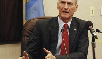 FILE - In this Jan. 31, 2014 file photo, South Dakota Gov. Dennis Daugaard speaks at a news conference in Pierre, S.D.  Daugaard has amassed more than $1.6 million in his re-election campaign account heading toward the June 3 primary, far exceeding his Republican challenger and two Democratic hopefuls. He raised more than $272,000 during the month and a half ending in mid-May with the majority coming from individual contributions. He spent $348,000. (AP Photo/Chet Brokaw, File)