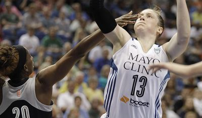 Minnesota Lynx guard Lindsay Whalen (13) pushes the ball up to the basket against San Antonio Stars forward Shameka Christon (20) in the first half of a WNBA basketball game on Friday, May 30, 2014, in Minneapolis. (AP Photo/Stacy Bengs)