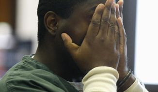 Defendant Nicholas Welch cries as he listens to his sister speak on his behalf during his sentencing proceedings, Friday, May 30, 2014 in Newark, N.J. Welch, 29, who was found guilty of killing a 19-year-old honors student and wounding four others at a party near Seton Hall University, was sentenced to life in prison plus 20 years. (AP Photo/Star-Ledger, Patti Sapone, Pool)