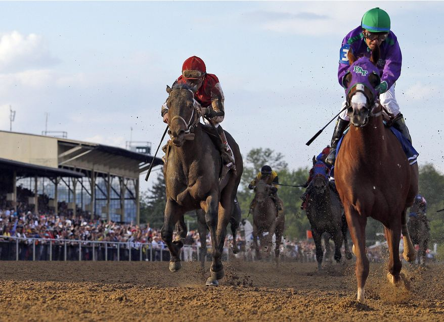 ADVANCE FOR WEEKEND EDITIONS, JUNE 1-2 - In this May 17, 2014 file photo, California Chrome, right, Victor Espinoza up, wins the 139th Preakness Stakes horse race  ahead Ride on Curlin, left,  who finished second,  at Pimlico Race Course in Baltimore. California Chrome's bid to become racing's first Triple Crown winner in 36 years isn't scaring away the competition. Horses are lining up to challenge the Kentucky Derby and Preakness winner in the Belmont Stakes next weekend. (AP Photo/Matt Slocum, File)