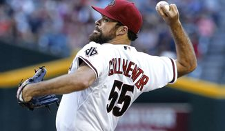Arizona Diamondbacks pitcher Josh Collmenter throws against the Cincinnati Reds during the first inning of a baseball game, Thursday, May 29, 2014 in Phoenix. (AP Photo/Matt York)
