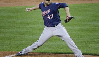Minnesota Twins pitcher Ricky Nolasco delivers against the New York Yankees during the first inning on Friday, May 30, 2014, in New York. (AP Photo/Julie Jacobson)