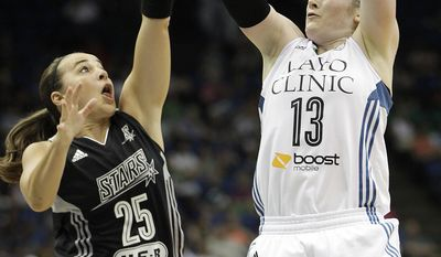 Minnesota Lynx guard Lindsay Whalen (13) shoots the ball against San Antonio Stars guard Becky Hammon (25) in the first half of a WNBA basketball game on Friday, May 30, 2014, in Minneapolis. (AP Photo/Stacy Bengs)