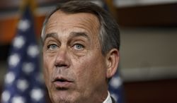 """FILE - This May 8, 2014 file photo shows House Speaker John Boehner of Ohio speaking on Capitol Hill in Washington. To congressional Republicans, """"Benghazi"""" is shorthand for incompetence and cover-up. Democrats hear it as the hollow sound of pointless investigations. It is, in fact, a Mediterranean port city in Libya that was the site of an attack on an American diplomatic compound on the 11th anniversary of 9/11 that killed U.S. Ambassador Chris Stevens and three other Americans. That's nearly all that U.S. politicians can agree on about Benghazi.  (AP Photo/J. Scott Applewhite, File)"""