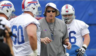 Buffalo Bills head coach Doug Marrone instructs offensive linemen during an NFL football organized team activity in Orchard Park, N.Y., Thursday, May 29, 2014. (AP Photo/Bill Wippert)