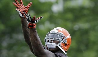 Cleveland Browns wide receiver Josh Gordon makes a catch during organized team activities at the NFL football team's facility in Berea, Ohio Wednesday, May 28, 2014. (AP Photo/Mark Duncan)
