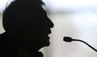 Colombia's national team's coach Jose Pekerman talks during a press conference in Buenos Aires outskirts, Argentina, Wednesday, May 28, 2014. Colombia's national soccer team is in Argentina training for the Brazil 2014 World Cup. Colombia starts in Group C against Greece. (AP Photo/Sergio Llamera)