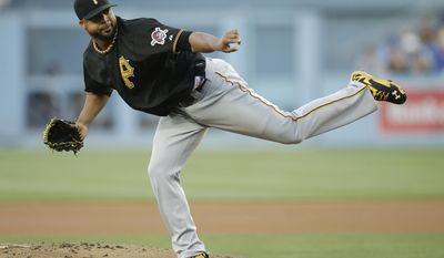 Pittsburgh Pirates starting pitcher Francisco Liriano follows through on a delivery to the Los Angeles Dodgers during the first inning of a baseball game Friday, May 30, 2014, in Los Angeles. (AP Photo/Jae C. Hong)