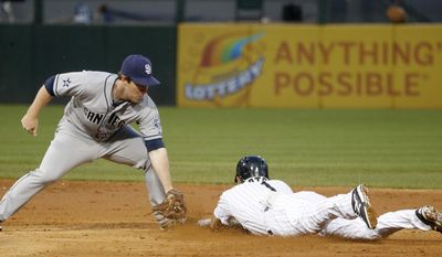 San Diego Padres second baseman Jedd Gyorko, left, catches Chicago White Sox's Adam Eaton trying to steal second during the third inning of an interleague baseball game Friday, May 30, 2014, in Chicago. (AP Photo/Charles Rex Arbogast)