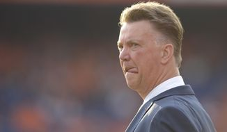 Netherlands head coach Louis van Gaal is seen prior to the international friendly soccer match between The Netherlands and Ghana at De Kuip stadium in Rotterdam, Netherlands, Saturday, May 31, 2014. (AP photo/Ermindo Armino).