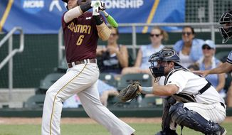 Bethune-Cookman's Matt Noble (6) follows through on a double to score two runs as Columbia catcher Mike Fischer, right, looks on in the seventh inning during an NCAA college baseball regional tournament in Coral Gables, Fla., Saturday, May 31, 2014. Bethune-Cookman defeated Columbia 6-5. (AP Photo/Lynne Sladky)