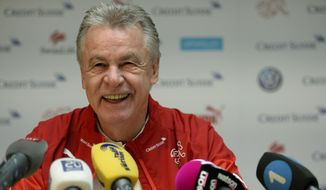 German Ottmar Hitzfeld, head coach of the Swiss national soccer team, looks on during a press conference in Weggis, Switzerland  Thursday,  May 29,  2014. The Swiss national soccer team prepares  for the upcoming World Cup in Brazil.  (AP Photo/Keystone,Urs Flueeler)