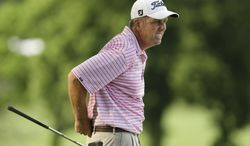 Doug Garwood lines up his shot on the 18th fairway during the second round of the Champions Tour's Principal Charity Classic golf tournament, Saturday, May 31, 2014, in Des Moines, Iowa. (AP Photo/Charlie Neibergall)