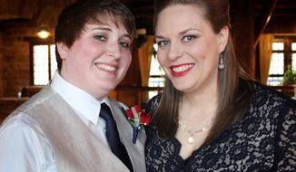 "In this Nov. 15, 2013 photo provided by Sabra Blumhorst, Brunhorst, right, and her partner Chelsea Baker pose on the day they exchanged wedding vows in in Makanda, Ill., months before the state recognized same-sex marriages. That all changes Sunday, June 1, 2014 when all Illinois' counties must begin issuing same-sex marriage licenses under legislation signed into law late last year. ""A lot of people have worked very hard for this day, and me and Chelsea are just pleased as punch,"" said Blumhorst, a 31-year-old Carbondale coffeehouse barista who along with Baker, 24, expects to get their marriage license within days of the new law taking effect state wide. (AP Photo/Jen Haselhorst)"