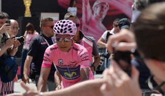 Colombia's Nairo Quintana takes the start of the 20th stage of the Giro d'Italia, Tour of Italy cycling race, from Maniago to Monte Zoncolan, Italy, Saturday, May 31, 2014. (AP Photo/Gian Mattia D'Alberto)