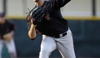 Texas Tech pitcher Dylan Dusek throws in the second inning against Miami during an NCAA college baseball regional tournament in Coral Gables, Fla., Saturday, May 31, 2014. (AP Photo/Lynne Sladky)