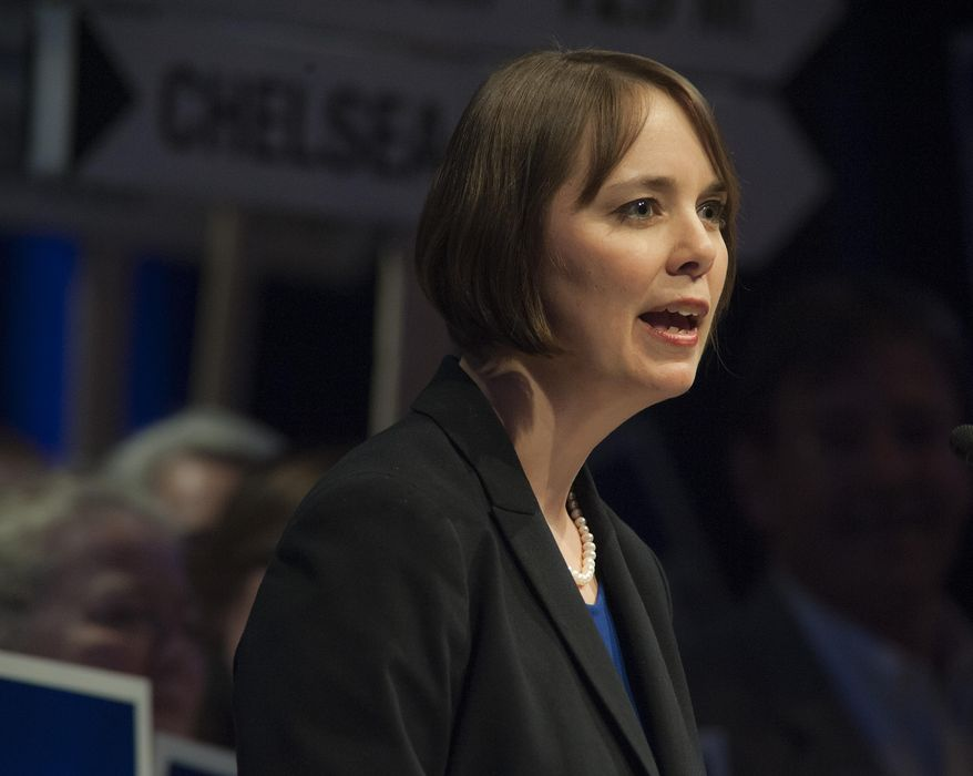 Shenna Bellows candidate for U.S. Senate speaks at the Maine Democratic Convention in Bangor, Maine, Saturday,  May 31, 2014. (AP Photo/Michael C. York)