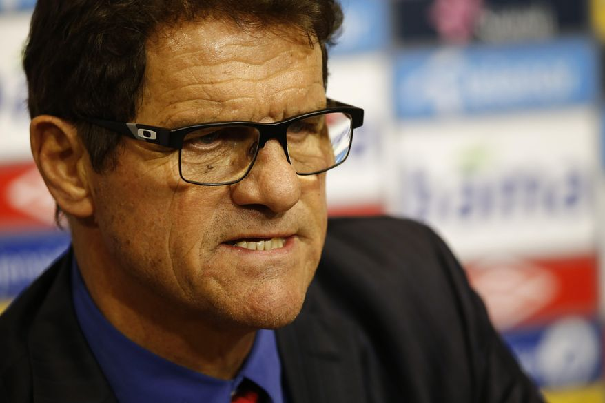 Fabio Capello, Russias head coach, is seen at the press conference after their international friendly soccer match between Norway and Russia. in Olso, Saturday, May 31, 2014.  The match ended 1-1. (AP Photo/Erlend Aas, NTB Scanpix)    NORWAY OUT