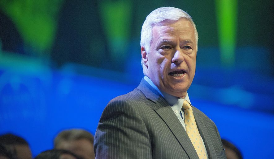 U.S. Congressman Mike Michaud, candidate for governor in Maine, speaks at the Maine Democratic Convention in Bangor, Maine, Saturday,  May 31, 2014. (AP Photo/Michael C. York)