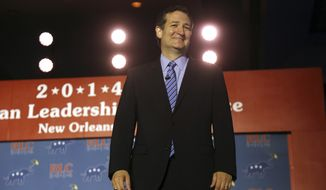 Sen. Ted Cruz addresses the Republican Leadership Conference in New Orleans, La., Saturday, May 31, 2014. Midterm election campaigns are in full swing, but several thousand Republicans gathering in Louisiana look toward a bigger prize. (AP Photo/Bill Haber)