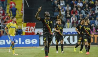 Belgium's Romelu Lukaku reacts after scoring the first goal of the game during the friendly soccer match between Sweden and Belgium at Friends Arena in Solna, Sweden, Sunday June 1, 2014. (AP photo / TT News Agency / Janerik Henriksson)  SWEDEN OUT