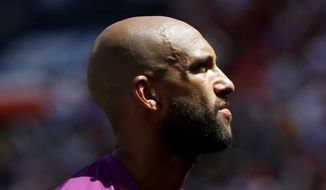 United States goalkeeper Tim Howard looks on before the start of an international soccer friendly against Turkey, Sunday, June 1, 2014, in Harrison, N.J. The U.S. won 2-1. (AP Photo/Julio Cortez)