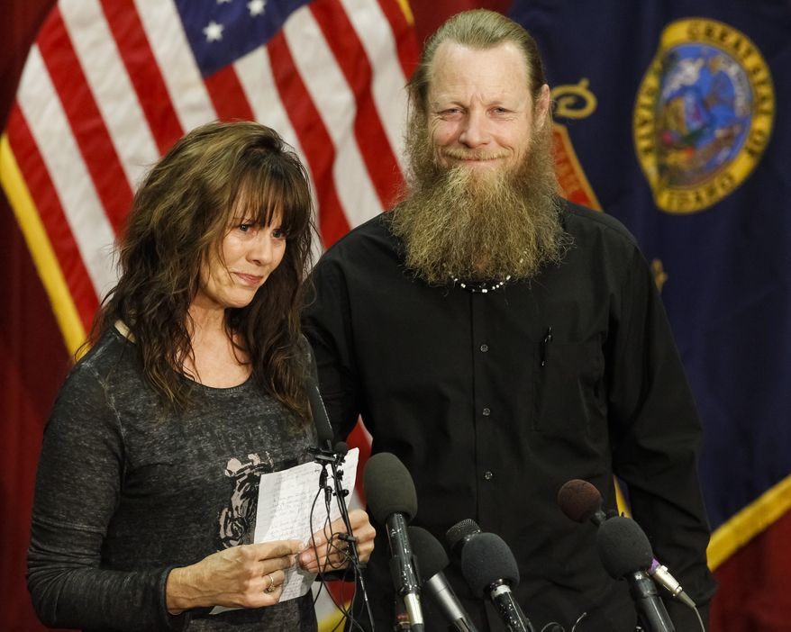 Jani and Bob Bergdahl speak to the media during a press conference at Gowen Field in Boise, Idaho, on Sunday, June 1, 2014. Their son, Sgt. Bowe Bergdahl is back in American hands, freed for five Guantanamo terrorism detainees. (AP Photo/Otto Kitsinger)