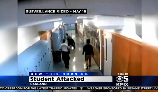 A security guard at a California high school has been charged after surveillance footage showed him assaulting a disabled student in a wheelchair. (CBS San Francisco)