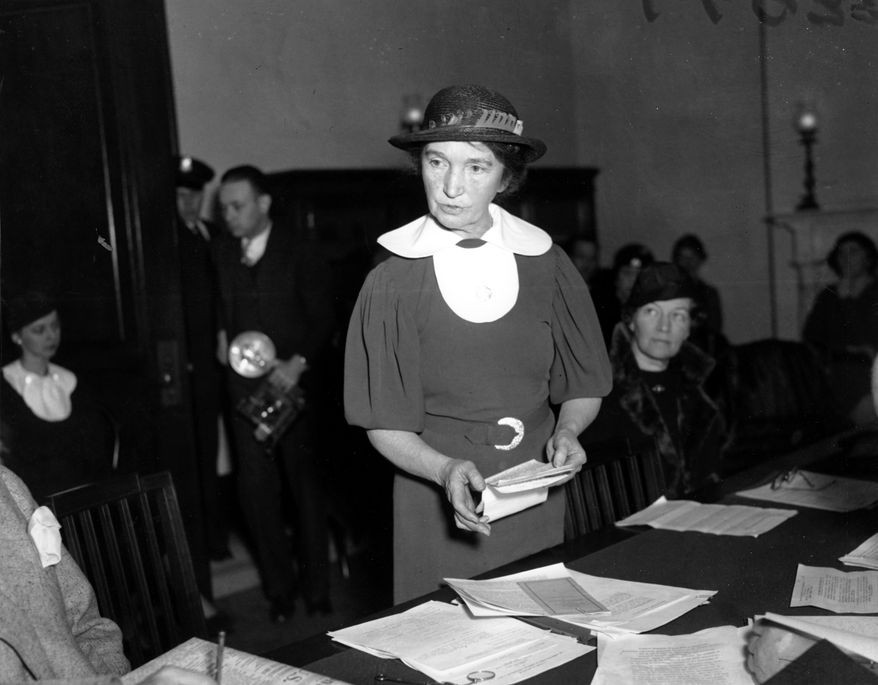 "Planned Parenthood founder Margaret Sanger, shown at a Senate hearing in Washington, D.C. in 1934, advocated curbing reproduction of ""undesirables"" among ""dysgenic groups."" (AP Photo)"