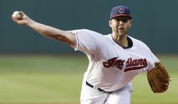 Cleveland Indians starting pitcher Justin Masterson delivers in the first inning of a baseball game against the Boston Red Sox, Monday, June 2, 2014, in Cleveland. (AP Photo/Tony Dejak)