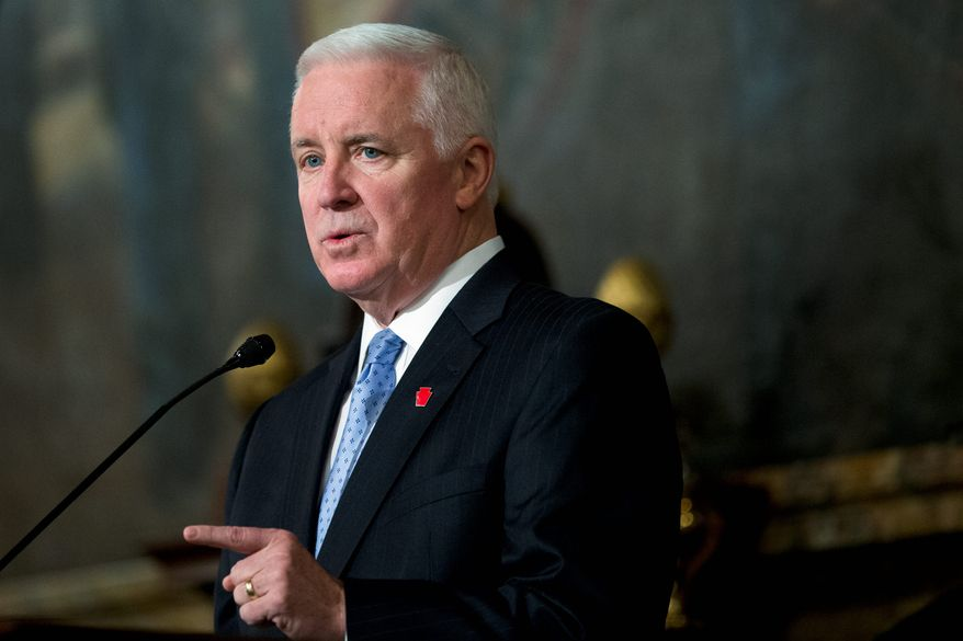 """Pennsylvania Gov. Tom Corbett, a Republican, criticized the EPA's new rules targeted at cutting carbon emissions, saying that the regulations could cause coal power plants in his state to shut down, which would result in job losses and would hurt consumers who are dependent on """"affordable, abundant domestic energy."""" (Associated pRess Photographs)"""