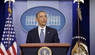 ** FILE ** In this May 30, 2014, file photo, President Obama speaks in the Brady Press Briefing Room of the White House in Washington following his meeting with Veterans Affairs Secretary Shinseki. (AP Photo/Susan Walsh, File)