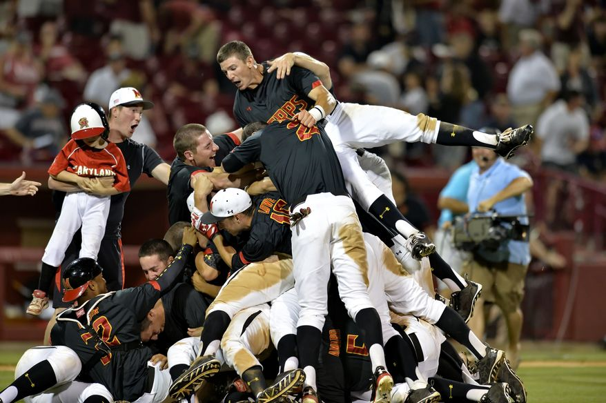 The Maryland Terrapins celebrate during an NCAA college baseball regional tournament game against South Carolina in Columbia, S.C.,  Sunday, June 1, 2014.  Maryland won 10-1. (AP Photo/ Richard Shiro)