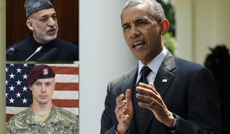 Photo illustration Bowe Bergdahl, Hamid Karzai, Barack Obama. President Barack Obama speaks about the future of US troops in Afghanistan, Tuesday, May 27, 2014, in the Rose Garden of the White House in Washington. The president will seek to keep 9,800 US troops in Afghanistan after the war formally ends later this year and then will withdraw most of those forces by the end of 2016. (AP Photo/Susan Walsh)