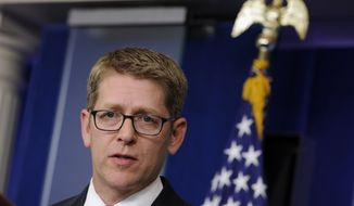 White House press secretary Jay Carney speaks during the daily briefing at the White House in Washington, Monday, June 2, 2014. Carney was asked about the release of Sgt. Bowe Bergdahl  from Afghanistan and a sweeping initiative by the Obama administration to curb pollutants blamed for global warming. (AP Photo/Susan Walsh)