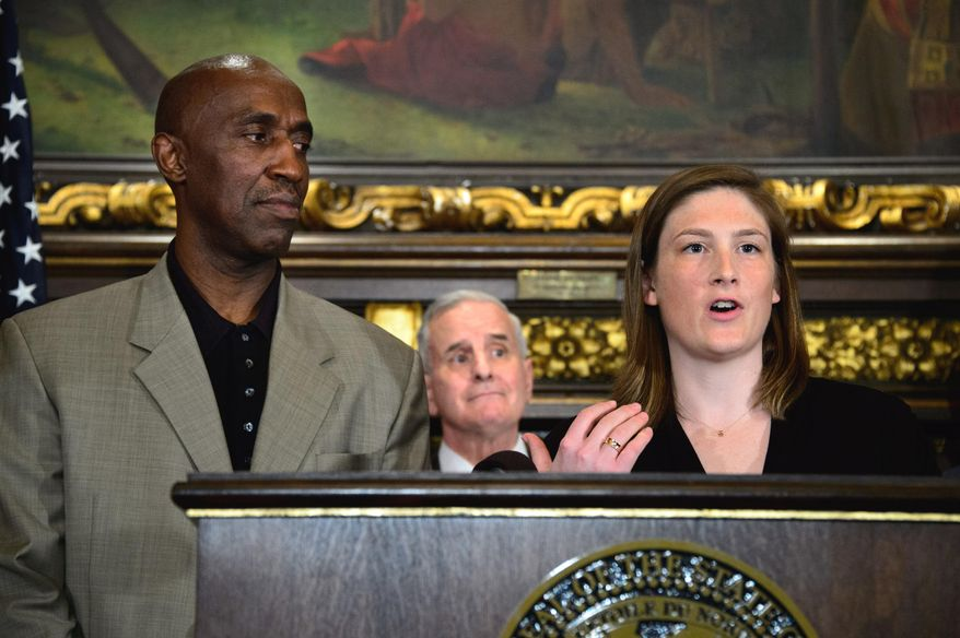 Lindsay Whalen, right, Trent Tucker, both former Minnesota college basketball standouts, with Gov. Mark Dayton, center, hold a news conference at the state Capitol, Tuesday, June 3, 2014, in St. Paul, Minn. The two are honorary co-chairs in the bid to bring the NCAA's men's Final Four to Minnesota in 2019 or 2020. Dayton, Minnesota business leaders and sports celebrities announced Minnesota's bid. (AP Photo/The Star Tribune, Glen Stubbe)  MANDATORY CREDIT; ST. PAUL PIONEER PRESS OUT; MAGS OUT; TWIN CITIES TV OUT.