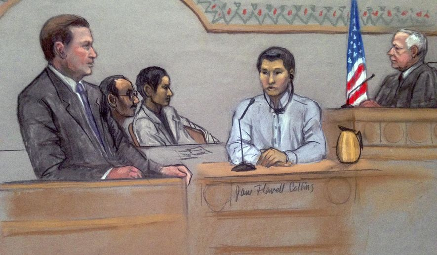 In this courtroom sketch, Dias Kadyrbayev, second from right, testifies in federal court Monday, June 2, 2014, in Boston. Kadyrbayev, a native of Kazakhstan and friend of Boston Marathon bombing suspect Dzhokhar Tsarnaev, is accused of removing items from Tsarnaev's dorm room several days after the 2013 bombings. He testified Monday, during a hearing on his request to suppress statements he made to authorities, that he did not understand his constitutional rights while he was being questioned following the attack. (AP Photo/Jane Flavell Collins)