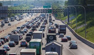 Traffic is at a stand-still after the I-495 bridge closed on Tuesday, June 3, 2014 near Wilmington, Del. (AP Photo/The Wilmington News-Journal, Robert Craig)