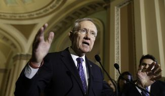 Senate Majority Leader Harry Reid of Nev. speaks to reporters on Capitol Hill in Washington, Tuesday, June 3, 2014, following a Democratic caucus lunch.  (AP Photo/J. Scott Applewhite)