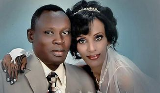 A wedding photo of Daniel Wani and Meriam Ibrahim
