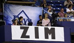 A banner honoring Tampa Bay Rays senior baseball advisor Don Zimmer hangs inside Tropicana Field during the fifth inning of an interleague baseball game between the Rays and the Miami Marlins Wednesday, June 4, 2014, in St. Petersburg, Fla. Zimmer passed away today. He was 83. (AP Photo/Chris O'Meara)