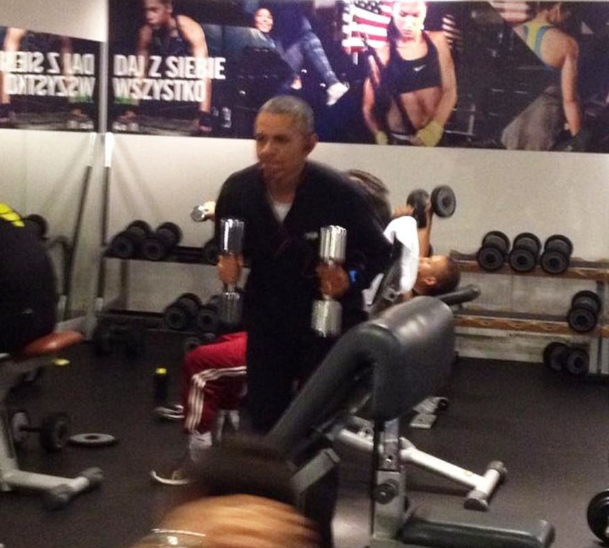 President Obama appears to be working out while in Poland in these photos posted on Facebook.