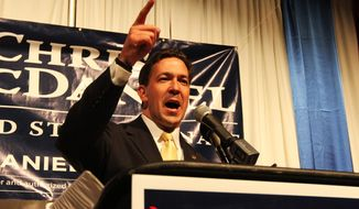 Chris McDaniel promises a victory to a late night audience Tuesday July 3, 2014, at the Lake Terrace Convention Center in Hattiesburg, Miss. McDaniel and six-term Sen. Thad Cochran dueled inconclusively at close quarters in Mississippi's primary election Tuesday night. (AP Photo/George Clark)