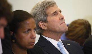 Secretary of State John Kerry, right, and National Security Adviser Susan Rice listen as President Barack Obama and Poland's President Bronislaw Komorowski speak at a news conference at Belweder Palace in Warsaw, Poland, Tuesday, June 3, 2014. John Kerry is on an unannounced trip to Lebanon to bring Obama administration support to the country's government as it confronts severe difficulties, with an influx of refugees from next door in Syria and a political stalemate at home. Kerry arrived in Beirut on Wednesday to meet with Lebanese officials and others as they deal with both the fallout from the conflict in Syria and a seemingly intractable dispute over who will become the next Lebanese president. (AP Photo/Charles Dharapak)