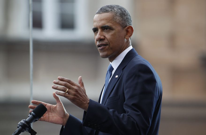 U.S. President Barack Obama speaks at the 25th anniversary celebrations of Poland's first free elections led by the Solidarity movement at the Royal Square in Warsaw, Poland, Wednesday, June 4, 2014. (AP Photo/Charles Dharapak)
