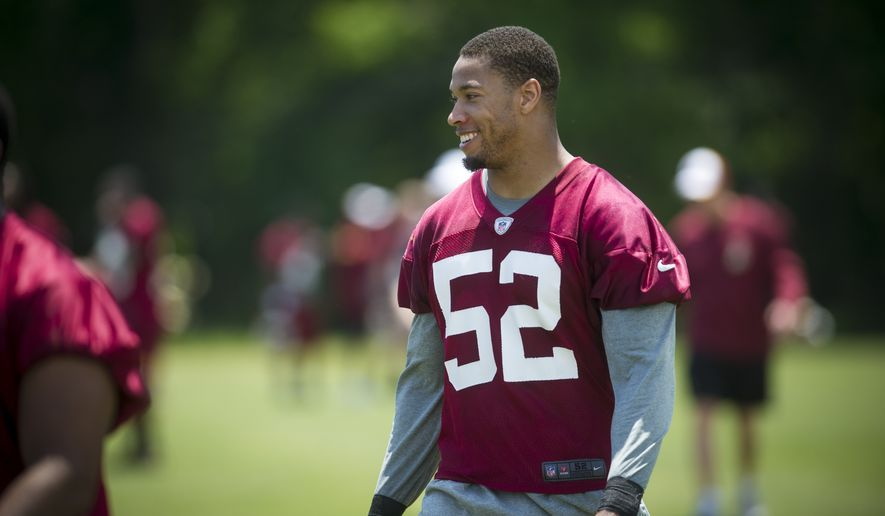 Washington Redskins linebacker Keenan Robinson (52) walks off their practice field following drills during an OTA at Redskins park in Ashburn, Va., Wednesday, June 4, 20124. (Photo Rod Lamkey Jr.)
