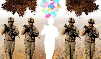 Illustration on treatment of soldiers who don't lionize Sgt. Bergdahl by Alexander Hunter/The Washington Times